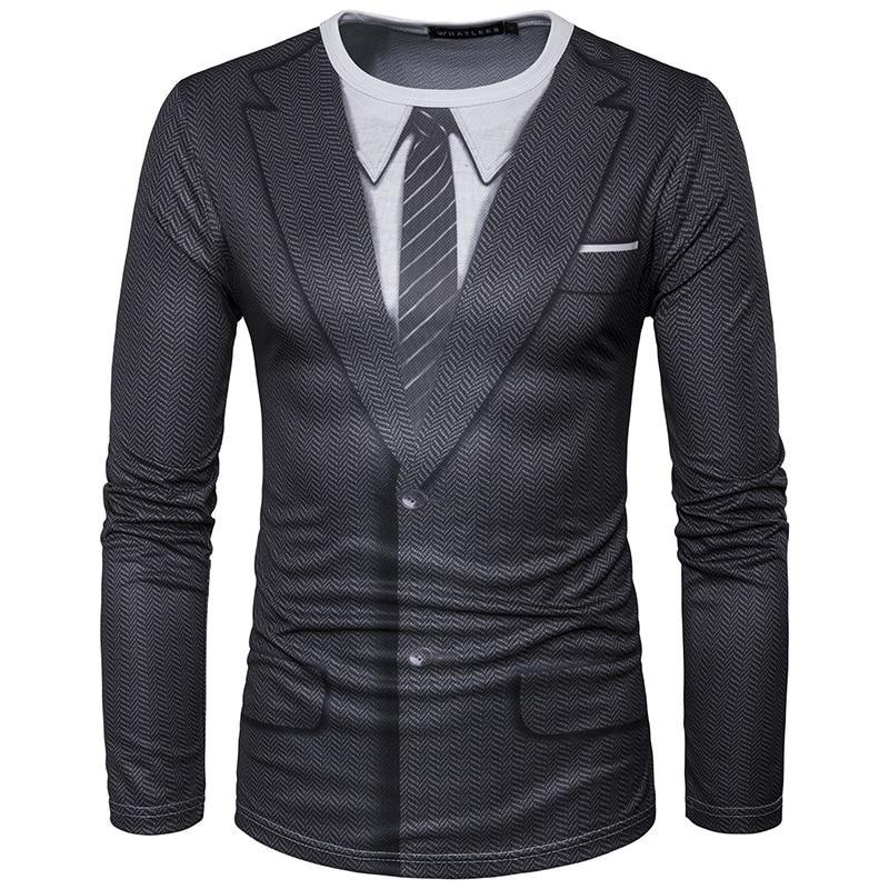 Faux costume 3D impression T-shirt hommes 2017 automne O cou hommes T-shirt drôle Harajuku Slim Fit homme T-shirt Hip Hop Camisetas Masculina