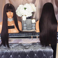 Silky Straight Full Lace Wig With Bangs 180% Density Straight Hair Unprocessed Remy Human Hair Full Lace Wigs With Bangs