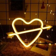1Pcs Battery Powered LED Neon Lamp Cupid Loving Heart Night Light for Wedding Christmas Valentine's Day Birthday  Decoration