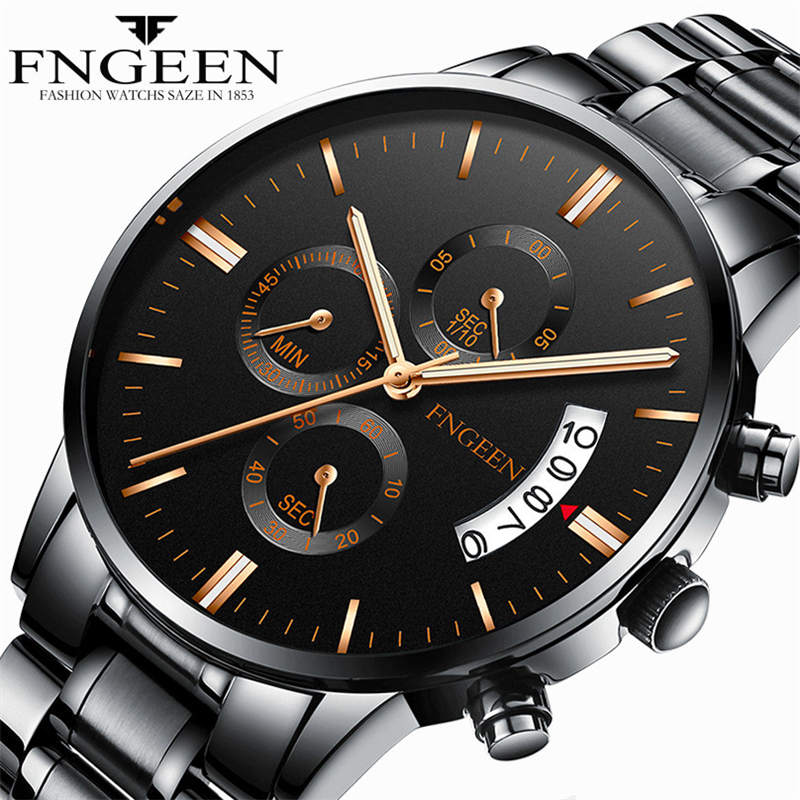 Fngeen Men Watch Stainless Steel Wristwatch Watch Band Fashion Man Black Quartz Clock Calendar Waterproof Watches Strap XF1372 100% authentic kingnuos men watch fashion couple high quality quartz clock watch band stainless steel man waterproof wrist watch