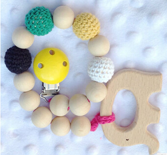 Emmababy Adorable Baby Pacifier Clip Wooden Teether Crochet Beads Gift Teething Chew Toy