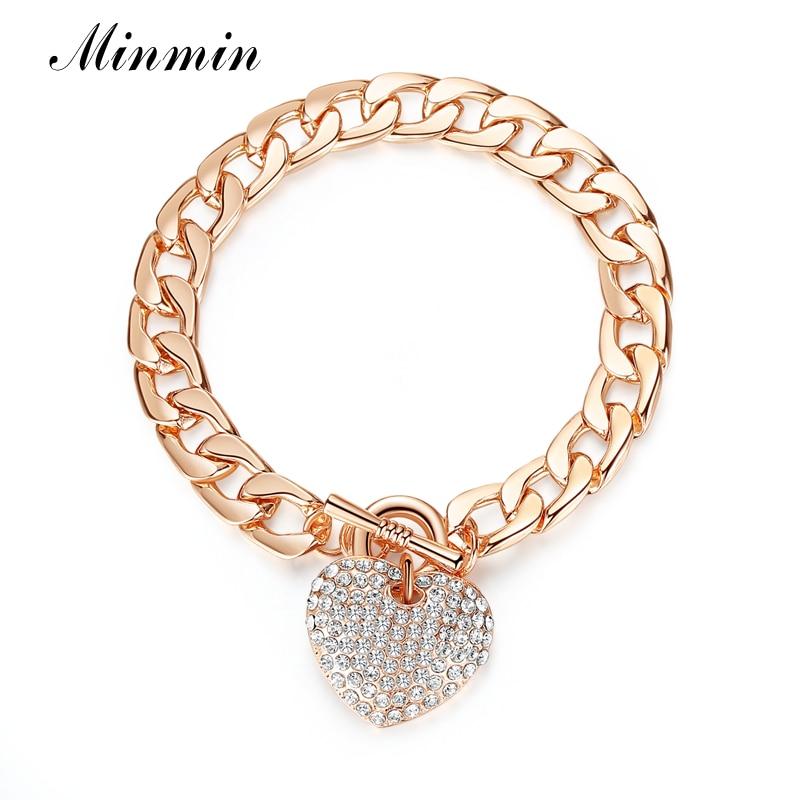 Minmin lijepo zlato / srebro boja narukvice za žene srce kristal - Modni nakit - Foto 6