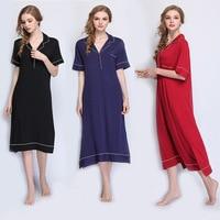 2019 New Women Long Nightgowns Plus Size Sleepwear Soft Modal Sleepshirts Lady Home Dress Nightwear Sleeping Wear Shirt collar