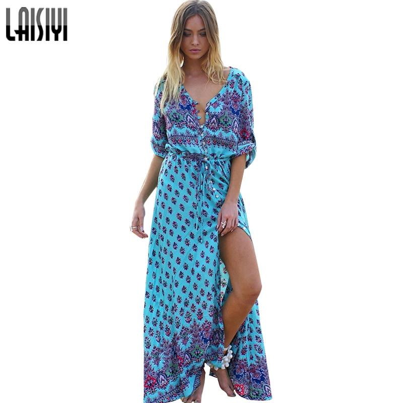 LAISIYI Vintage Tisk Léto Maxi Šaty Sexy Bohemian Beach Šaty Květinový šaty Poloviční rukávy Dlouhé košile Šaty Vestidos ASDR20147