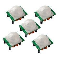 MOOL 5 uds HC SR501 ajuste Ir infrarrojos piroeléctrico PIR Humen Detector Sensor de movimiento módulos para Arduino UNO R3 Mega 2560 Nano