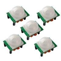 Mool 5 pcs HC SR501 조정 ir pyroelectric 적외선 pir humen 모션 센서 감지기 모듈 arduino uno r3 메가 2560 나노|센서&탐지기|   -