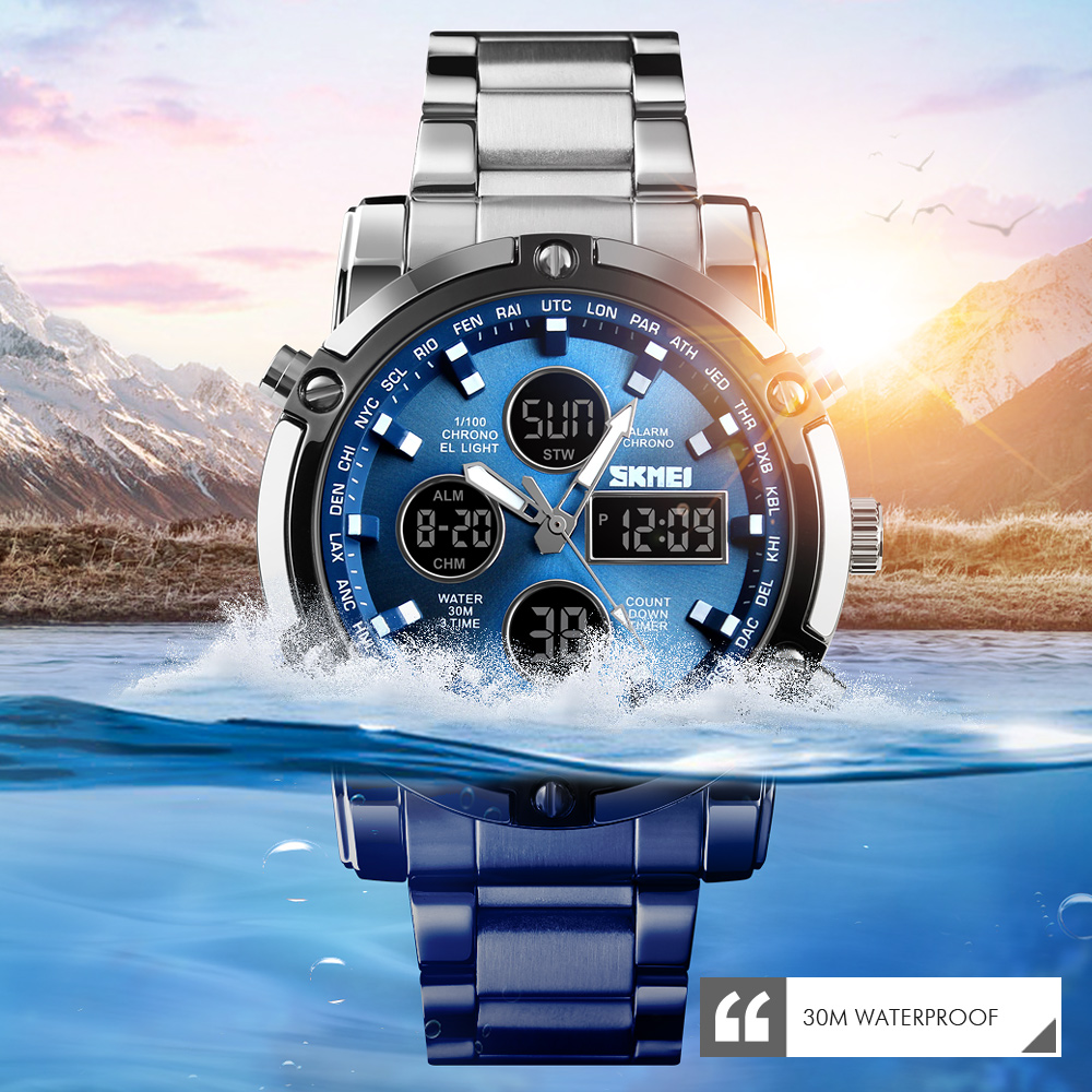 <font><b>SKMEI</b></font> Digital Watch Men Quartz Sport Watch Luxury Business Stainless Steel Strap Men Watches Waterproof Clock reloj hombre <font><b>1389</b></font> image