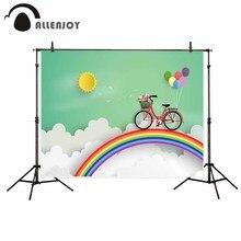 Allenjoy painéis fotográficos vinil Dos Desenhos Animados verde ciclismo rainbow crianças fundo photobooth nuvem recém projeto original