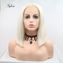 シルビアホワイトブロンド毛ショートストレートボブウィッグの合成レースフロントウィッグ女性毛 60 # カラー耐熱繊維の毛のかつら
