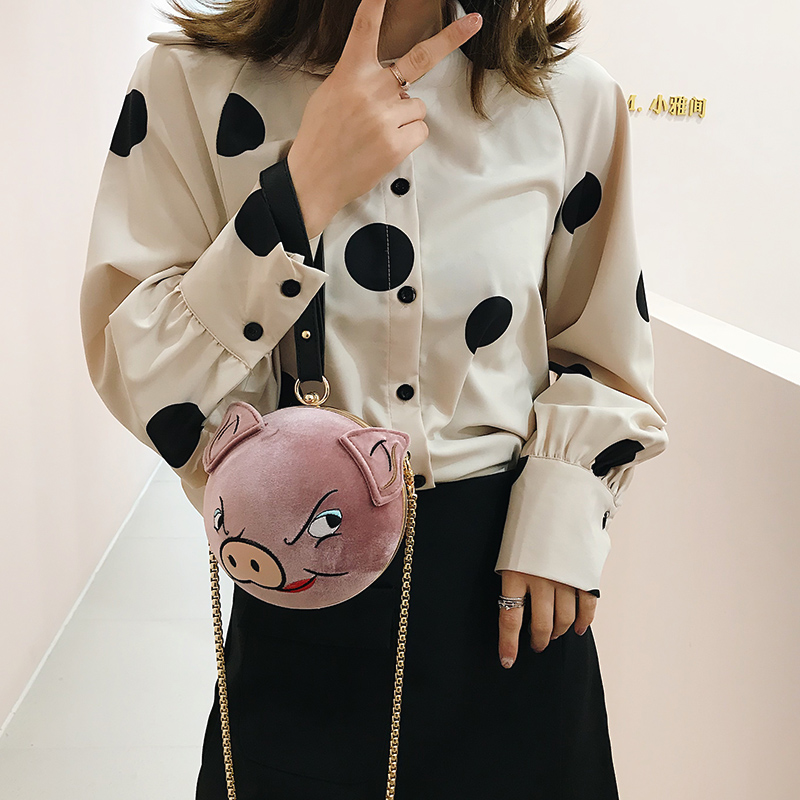 296498046 Cute Embroidered Cartoon Pig Pattern Round Fashion Ladies Handbag Crossbody  Mini Bag Casual Totes Shoulder Bag Female Bolsa Flap-in Shoulder Bags from  ...