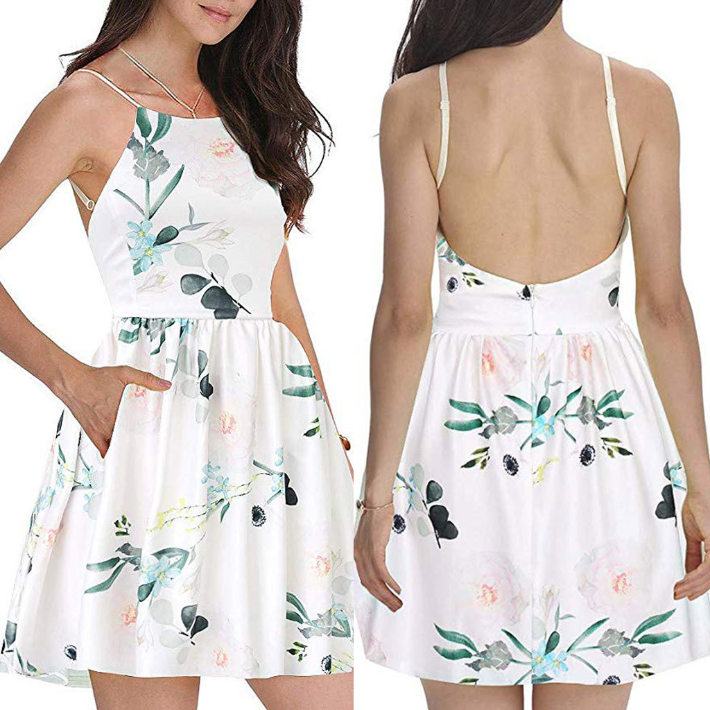 2019 New Arrival Print Sleeveless Summer Fashion Women Spaghetti Strap Floral Print Beach Style Skater A Line Mini Dress