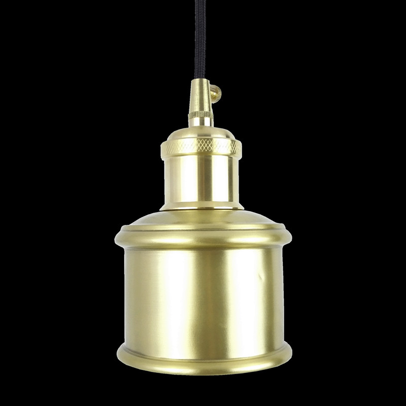 E27 brass socket with copper lampshade fabric wire pendant lamp fixture quality brass lighting with LED bulb for home decoration e27 brass material diy pendant light fixture edison globe bulb 40w g125 vintage copper fabric wire lighting fixture chandelier
