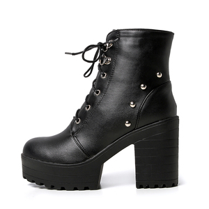 Image 3 - Blue Black Fashion Platform Martin Boots Women Thick High Heels Ankle Boots Lace Up Autumn Winter Woman Shoes White