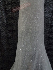 Image 2 - best quality african sequins embroidery french tulle mesh lace fabric with glued glitter for wedding