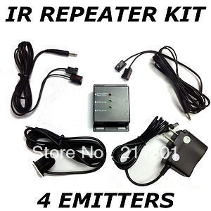 Dual Band IR Infrared Remote Control Hidden Repeater Extender AV Kit 4 Emitters