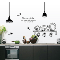 Free Shipping florence life removable wall stickers kitchen restaurant tea cup cupboard decorative decals wall murals