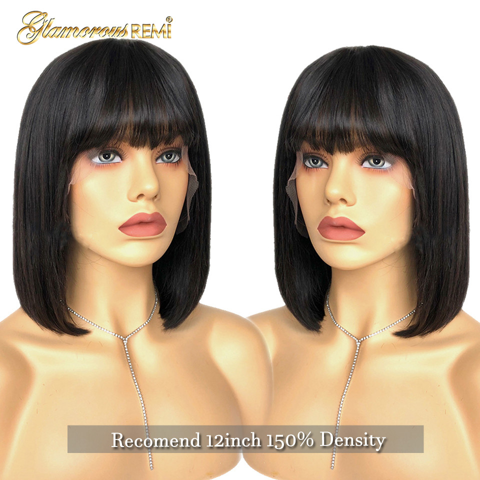 Brazilian Short  Bob Wig With Bangs In Human Hair Wigs 13*6 Deep Part Fringe Human Hair Blunt Straight Lace Front Wig For Women
