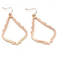 Classic Hot Selling Rose gold Gold Silver Hollow Out Teardrop Dangle Earrings For Women Matte Fram DropEarrings Fashion Jewelry цена 2017