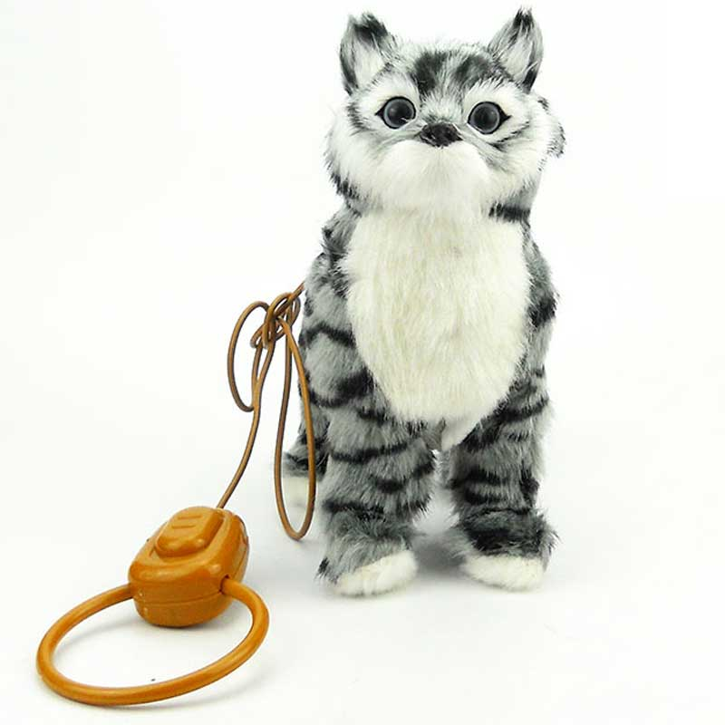 Robot Cat Electronic Cat Toy Electronic Plush Pet Toy Singing Songs Walk Mew Leash Kitten Toys For Children Birthday Gifts