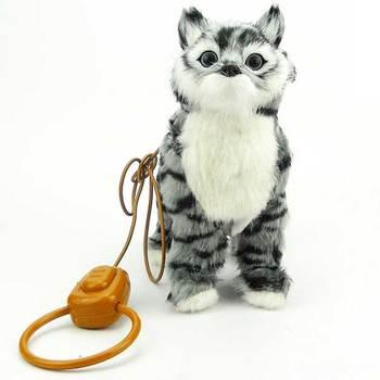цена на Robot Cat Electronic Plush Kitty Singing Songs Walk Electric Kitten Leash Control Music Cat Pet Ship From Russia Warehouse