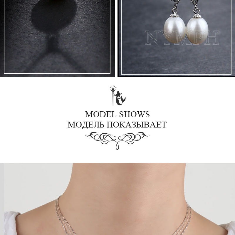 NYMPH Pearl Jewelry Set Natural Fresh Water Pearl Necklace Pendant Earrings For Wedding Party Gift Women[tz1032]