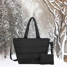 2019 New Winter Space Bale Bag Women Casual Cotton Duffel Bags Feather Padded Shoulder Lady Crossbody+ wallet