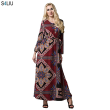 b20f9197fd249 Moslim Maxi Jurk Gedrukt Abaya Vest Lange Jurk Vrouwen Plus Size Volledige  Lengte Tuniek Kaftan Midden-oosten Islamitische Ramad.