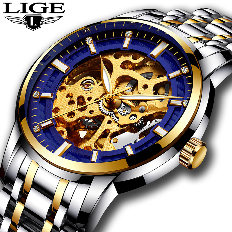 Watch men full steel Skeleton Automatic mechanical watch luxury brand LIGE waterproof business  wristwatch relogio masculino women favorite extravagant gold plated full steel wristwatch skeleton automatic mechanical self wind watch waterproof nw518