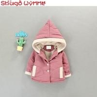 Winter Baby Girls Pockets Hooded Thicken Fleece Warm Jacket Coats Kids Infant Outerwear Overcoat roupas de bebe casaco