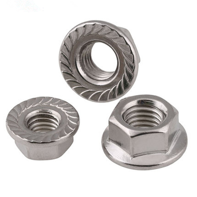 10 Pieces. 304 Stainless Steel M6 Toothed Flange Hexagonal Safety Nuts