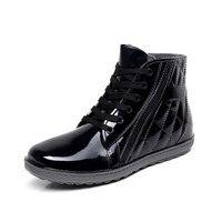 מגפי גשם עמיד למים Pvc שטוח עם נעליים עמיד למים גשם גברים בני זכר מים גומי מגפי קרסול אבזם botas 25-27 ס