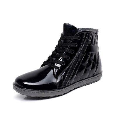 Pvc водонепроницаемый дождь сапоги водонепроницаемый квартира с обуви мальчики мужчины дождь мужской воды резиновые сапоги лодыжки пряжкой botas 25-27 см ноги