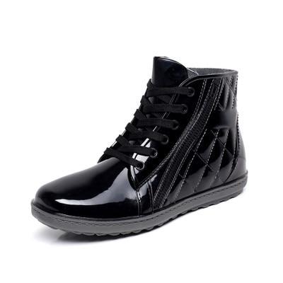 Pvc waterproof rain boots waterproof flat with shoes boys men rain male water rubber ankle boots buckle botas 25-27cm foot
