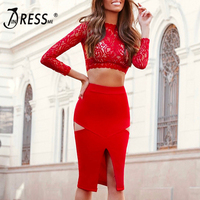 INDRESSME Sexy Women 2 Piece Sets Bandage O Neck Lace Full Sleeve Short Women Top Fashion Hollow Out Mid Calf Skirt 2019