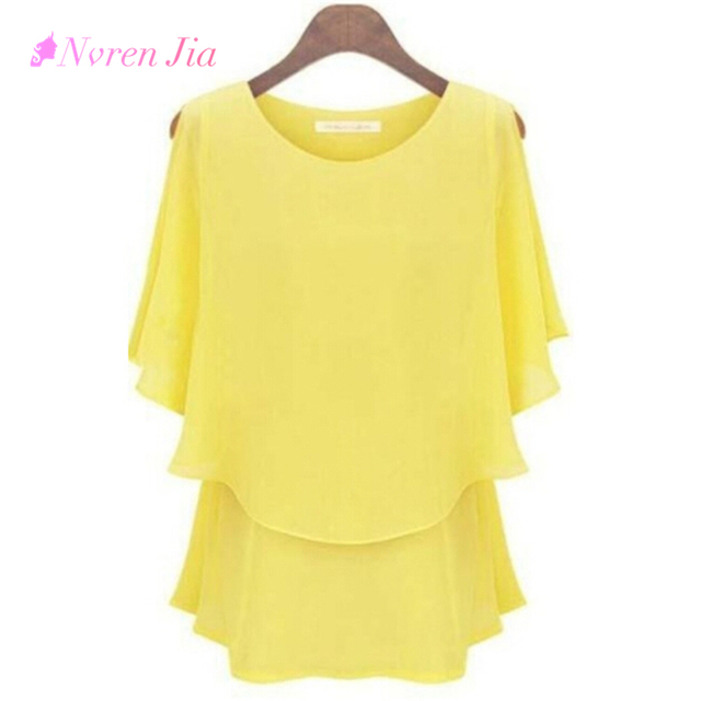 New Wear Women Shirt Chiffon Tops Elegant Ladies Formal Blouse Plus
