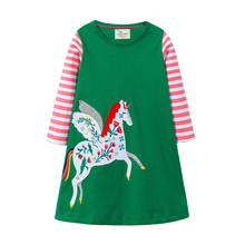 Jumping meters new designed unicorn dress for baby girls kids hot selling spring autumn cartoon clothes new striped girls dress jumping meters top brand dresses girls baby new clothing cotton striped applique animals princess autumn spring kids dress girl