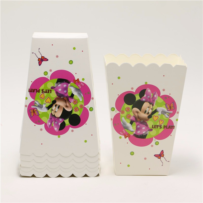 6pcslot Minnie mouse Kids Favors Gifts Boxes Baby Shower Decoration Paper minnise Popcorn Cups Happy Birthday party Supplies