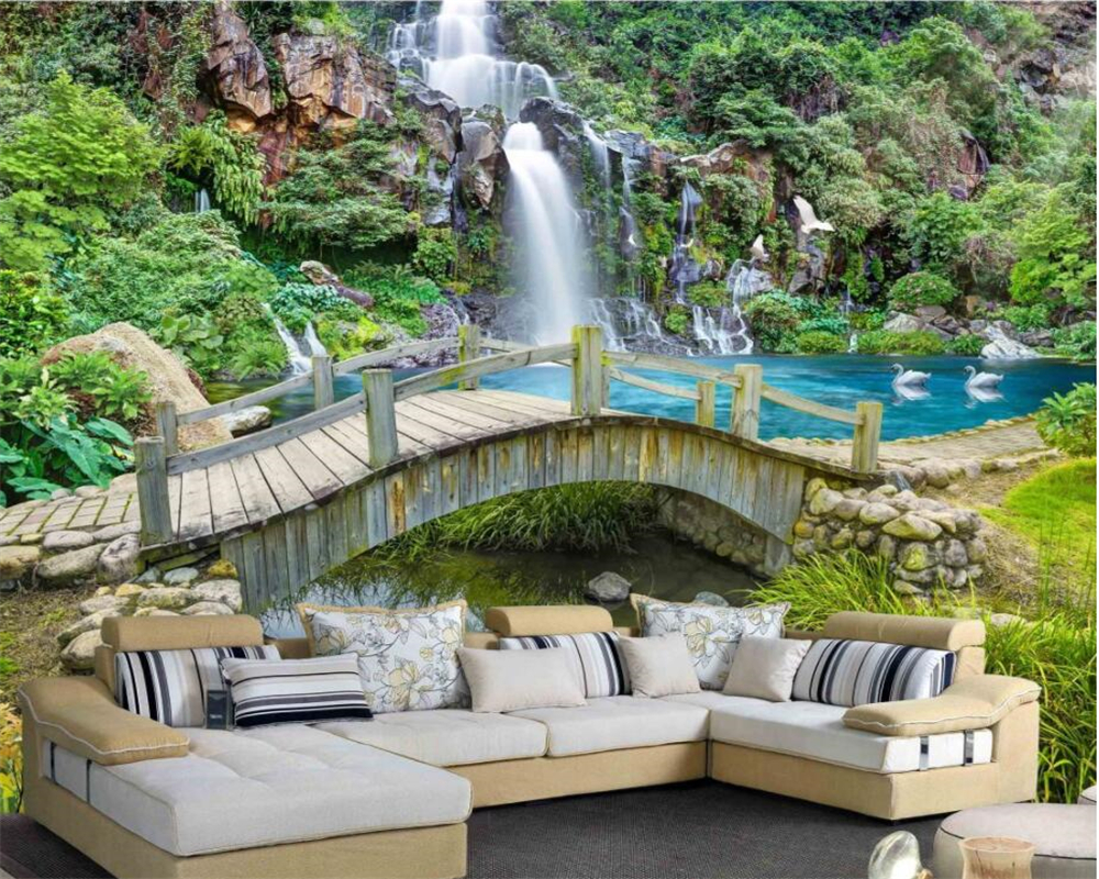 Beibehang Custom Spring Creek Bridge Waterfalls Landscape