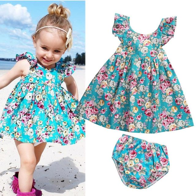c18767d887e5 2Pcs Toddler Infant Baby Girl Summer Ruffle Floral Sundress Dress ...