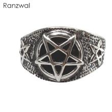 Ranzwal Punk Stainless Steel Pentagram Star Rings for Men Biker Finger Rings Rock Jewelry US SIZE 7~13 MRI123