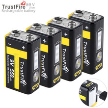 4pcs/lot TrustFire 9V 550mAh Li-ion Rechargeable Battery with 3A Charging Current For Multimeter / Wireless Microphone Alarm