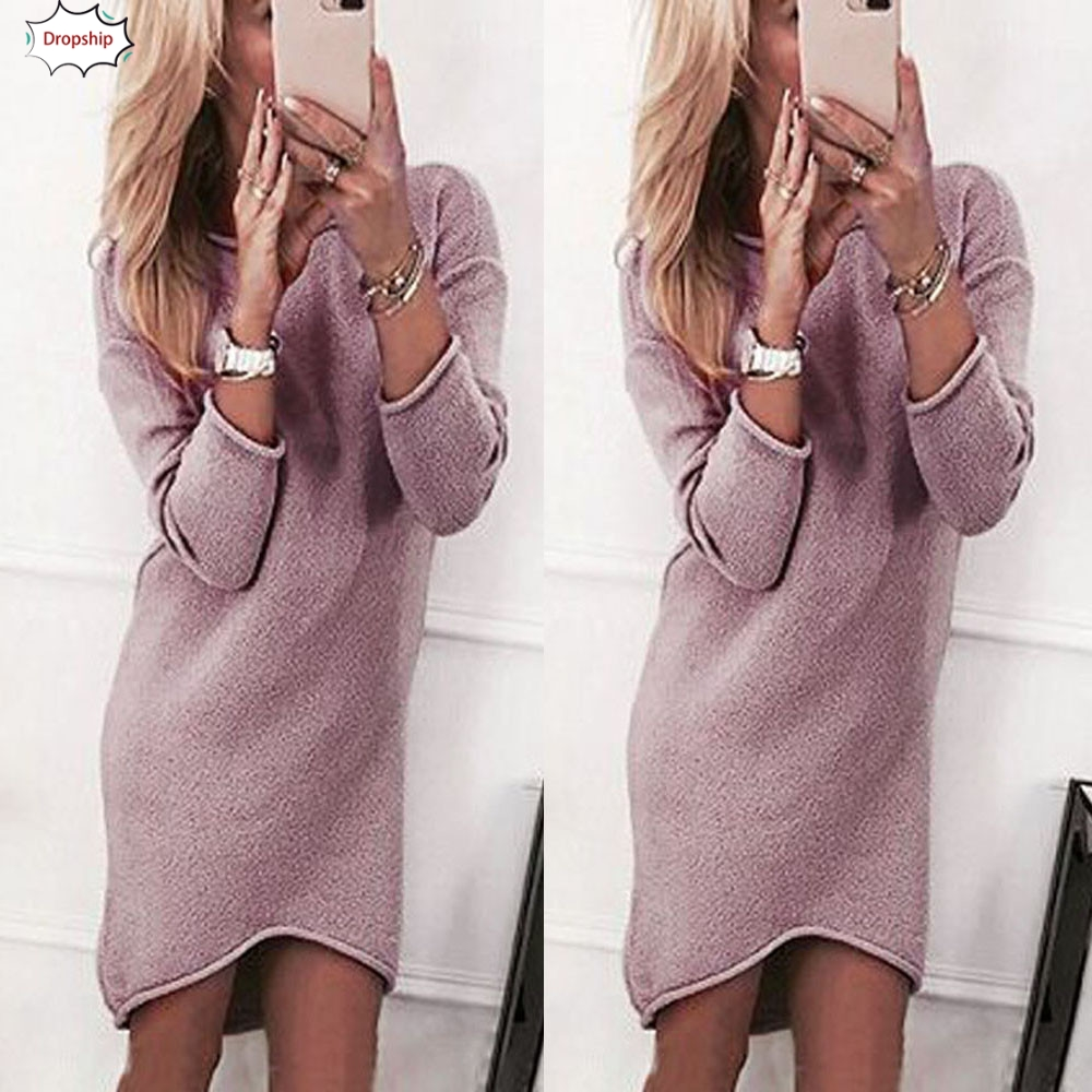 2019 Women Winter Fashion Solid O-Neck Sweater Above Knee&Mini Sweater Long Casual Long Sleeve Pullove  Dress DropShiping18nov8