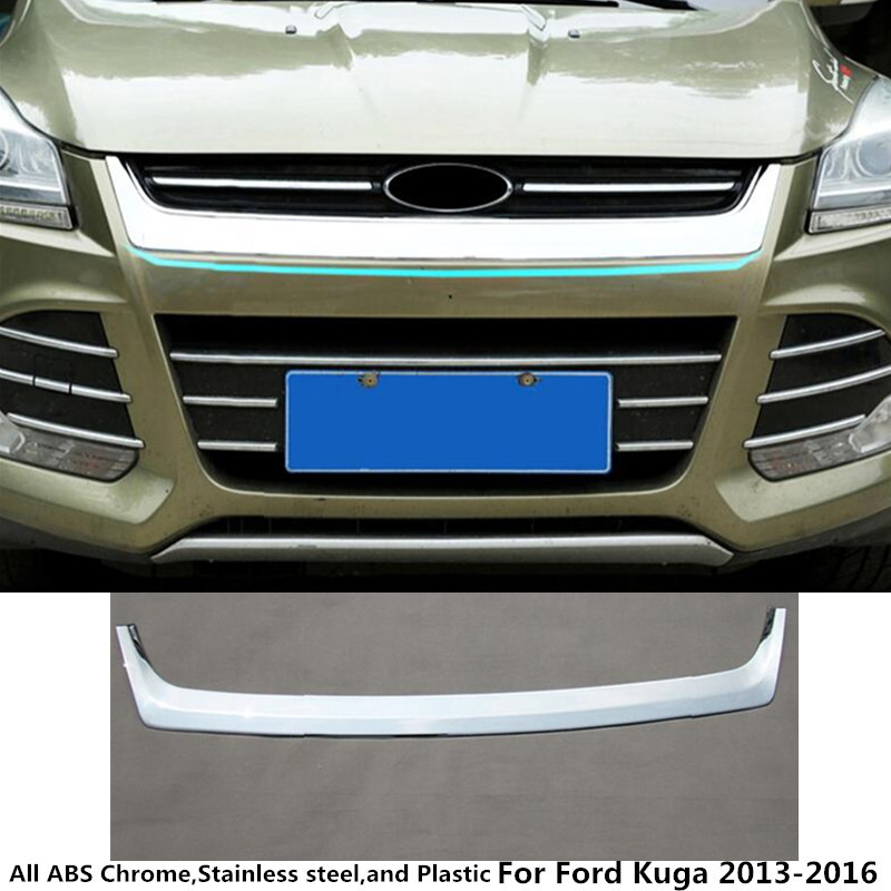 For Ford Kuga 2013 2014 2015 2016 1pcs car styling garnish cover ABS Chrome front engine Machine grille hood lid trim molding