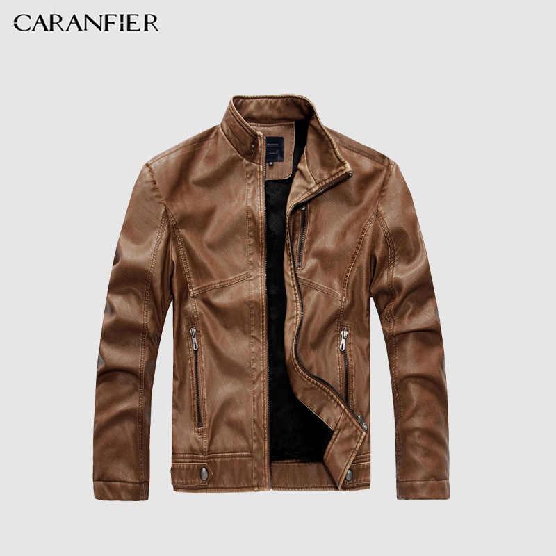 CARANFIER mens fur แฟชั่น Faux หนังเสื้อผู้ชายฤดูหนาวฤดูใบไม้ร่วง Cool รถจักรยานยนต์แจ็คเก็ต PU แจ็คเก็ตหนัง