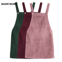 Autumn Winter Women Party Dress 2018 Retro Corduroy Dress Bib Pocket Front Overall Vintage Dress Lady Suspender Slim Mini Dress(China)