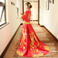 Nice Style Chinese Traditional Dress Red Wedding Dress Long Evening Dress Embroidery Cheongsam Clothing Size XXS