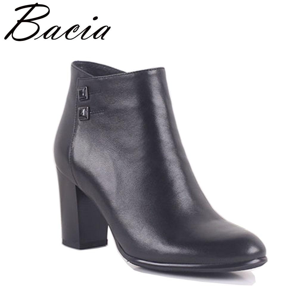 Bacia Genuine leather boots Women Sheepskin Black Sheepskin Ankle Boots Short Plush High quality Free shipping Size 35-41 MC018 ubz free shipping women s genuine high quality snow boots sheepskin leather 100