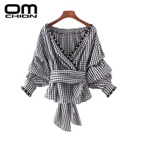 QMCHION New 2017 Plaid Autumn Tops O Neck Lantern Sleeve Women Blouse Back Cross Pearl Decorative