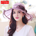 PTAH Wide Brim Beach Hats Organza Visor Floppy Floral Bowknot Hat For Women Foldable Silk Summer Sun Caps Adjustable Chapeu 0504