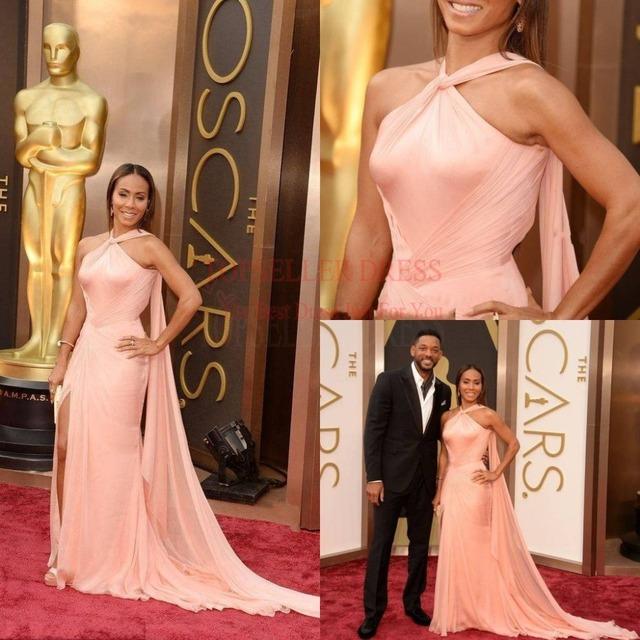 Oscars 2014 Jada Pinkett Smith Halter Hot Pink gasa una línea 86a premios de la academia Red Carpet vestidos Celebrity vestido largo vestidos